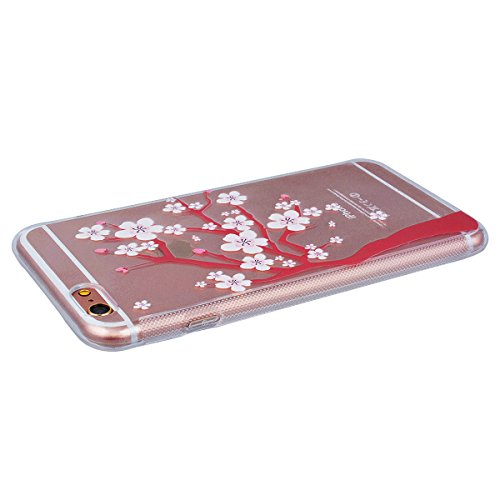 Yokata iPhone 6 / iPhone 6s Transparent Weich Silikon Gel Crystal Clear TPU Case Handyhülle Schutzhülle Schale Etui Durchsichtig Ultra Slim Backcover Silicone Bumper Protective Cover mit Cherry Tree R Plum Tree