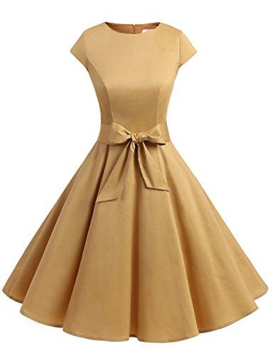 Dressystar Damen Vintage 50er Cap Sleeves Dot Einfarbig Rockabilly Swing Kleider Sand XXXL