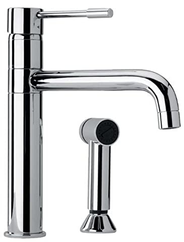 Jewel Faucets 25574 Modern Single Lever Handle Two Hole Kitchen Faucet with Side Sprayer Chrome by Jewel Faucets