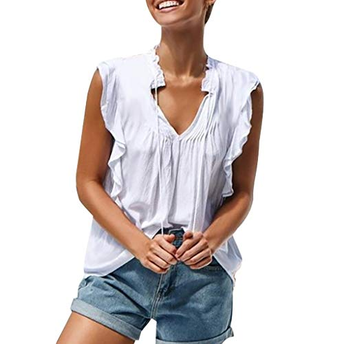 Yvelands Damen Weste Tank Top Sommer Lässig Rüschen Ärmelloses T-Shirt Bluse ()