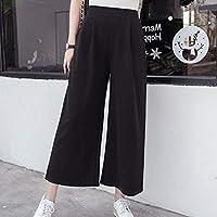 Oyamihin Pantalón Largo para Mujer de Cintura Alta con Abertura Ancha en la Pantorrilla Pantalones Rectos Flojos Delgados Ocasionales del Color sólido Delgado - Negro