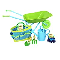 Little Pals Childrens Wheelbarrow & Gardening Tool Set, Green/Blue with Watering Can, Gloves, Trowel, Fork and Plant Marker in Carry Bag