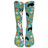 Tyueu Corgi Dog Pizza Burrito Doughnuts Outdoor Athletic Long High Sock Stocking