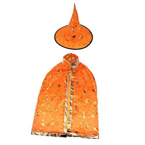 Prettyia Kinder Halloween Kostüm,Zauberer Hexe Umhang Kap Robe und Hut Set für Jungen Mädchen - (Hexe Hut Kind Orange)