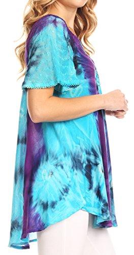 Sakkas Juniper Kurzarm Lace Up Tie Dye Bluse mit Pailletten und Stickerei Turq / Lila