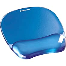 Fellowes Crystals Gel Mouse Mat with Wrist Support, Blue
