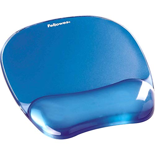 Fellowes 911410 mouse pad con poggiapolsi crystal gel, blue