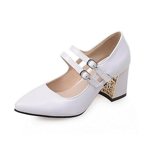 AgooLar Femme Pointu Boucle Pu Cuir Couleur Unie à Talon Correct Chaussures Légeres Blanc