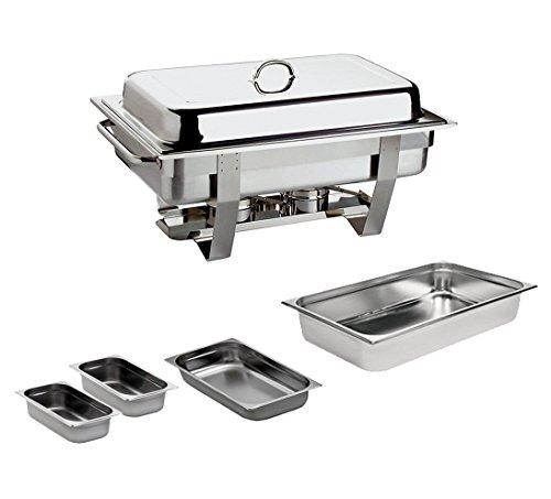 Chafing Dish 9L. Edelstahl inkl. GN 1/1 GN 1/2 2x GN 1/4 Speisewärmer Warmhaltegerät 9 Liter Chafing Dish