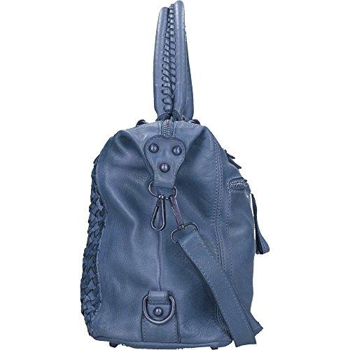 Borsa a Mano da Donna Chicca Borse Vintage in Vera Pelle Intrecciata Made in Italy 35x26x12 Cm Blu