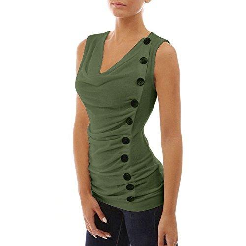 Donna Estivo Senza Maniche V Collo Maglietta Sottile Camicie Bluse Casual T-Shirt di Colore Solido Taglie Forti Folds Canotte con Pulsanti Top Armygreen