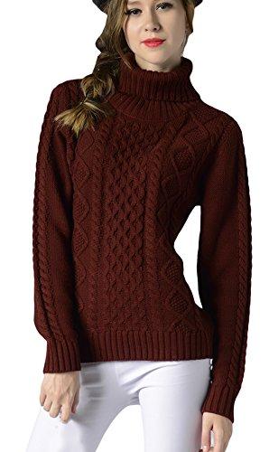 EOZY-Maglione a Treccia Collo Alto Maglieria Donna Ragazza Slim Pullover Rosso