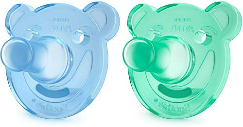 Philips Avent Soothie - Pack de 2 Chupetes calmantes de silicona médica, sin BPA, de 0 a 3 meses, niño...