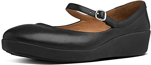 FitFlop F-Pop Leather, Mary Jane Donna ALL BLACK