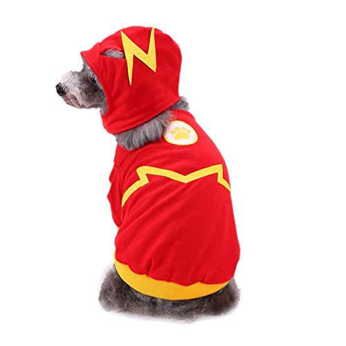 Scrox 1 Stück Flash-Flash-Print Tier Katze Hund Kapuze Sweatshirt Mantel Kleidung Warm Herbst und Winter Welpen Sicherheit Pullover Outfit Kleidung, rot, (Katze Im Flash Kostüm)