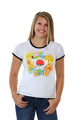 Pokemon Blasts Juniors Ringer Tee Small (Damen Ringer T-shirt Musik)