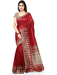 Rajnandini Red Tussar Silk Printed Casual Wear Traditional Saree For Women