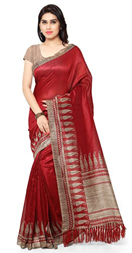 Rajnandini Women's Tussar Art Silk Saree (Joplnb3010, Red, Free Size)