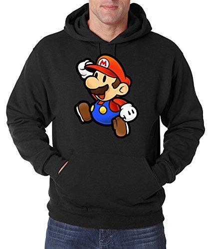 TRVPPY Herren Hoodie Kapuzenpullover Modell Super Mario, Schwarz, S