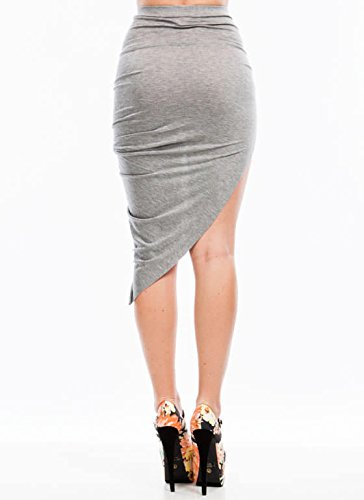 Minigonna da donna asimmetrica, con spacco laterale e un lato mini e l'altro lato drappeggiato e con ruche, per feste, M-L Gray - asymmetrical solid high low Skirt
