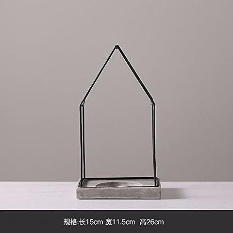 Home Dekoration, Keramik-Kerze, Iron Art molding Zement Keramik, Home Creative Small Ornamente, 15.2 * 11.3 * 17 cm