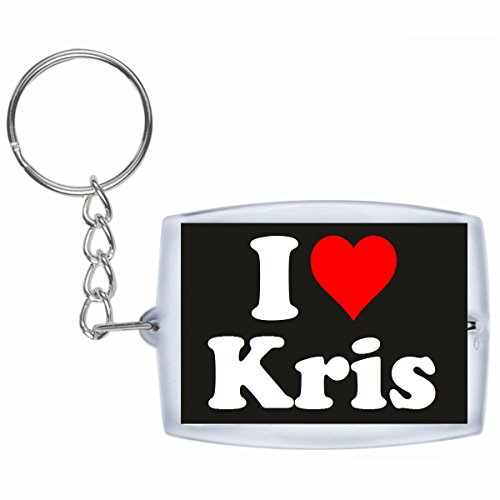 Druckerlebnis24 Schlüsselanhänger I Love Kris in Schwarz, eine tolle Geschenkidee die von Herzen kommt| Geschenktipp: Weihnachten Jahrestag Geburtstag Lieblingsmensch