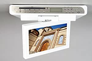 Visua TV/lecteur DVD avec option réveil et radio et écran rabattable pour cuisine Blanc brillant/aluminium 26 cm
