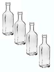 """24 leere Glasflaschen""""Maraska"""" 100 ml incl. Schraubverschluss Silber Saftflasche Likörflaschen Schnapsflaschen Ölflaschen Flaschen Wasserflasche aus Glas zum selbst befüllen"""