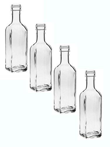 24 leere Glasflaschen Maraska 100 ml incl. Schraubverschluss Silber Saftflasche Likörflaschen Schnapsflaschen Ölflaschen Flaschen Wasserflasche aus Glas zum selbst befüllen