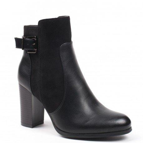 Ideal Shoes - Bottines bi-matière avec talon épais et ceinturon Patricia Noir