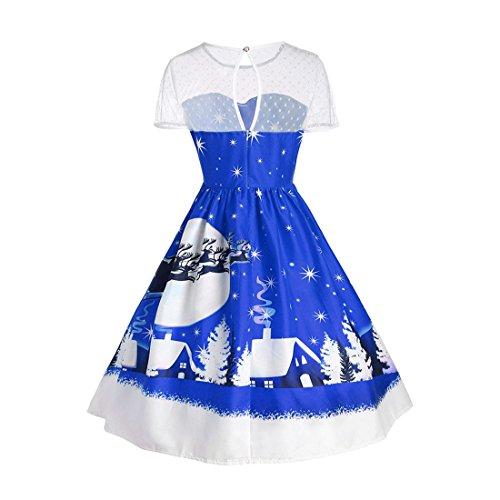 Marokkanische Kleidung Für Frauen (Frauen Minikleid,FRIENDGG Damen Vintage Weihnachten O-Neck Gedruckt Kurzarm A-Line Swing Kleid Weihnachten Mode Casual Party Rock (Blau, S))