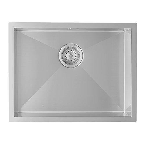 Enki in acciaio INOX lavello lavello 1.0singola ciotola quadrata, finitura satinata