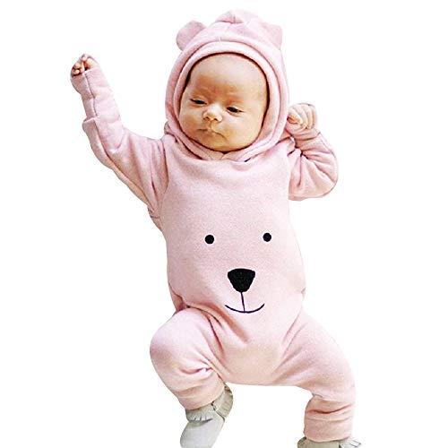 Jaysis Baby Overall, Bodys Einteiler Sweatshirts Schneeanzüge Winter Overall mit Kapuze Fleece Strampler Footed Spielanzug Mädchen Jungen Jumpsuit - Herzförmiger Kurzarm-pullover