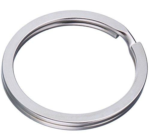 Schlüsselringe Flach 100 Stück 25mm | Stahl Gehärtet - Vernickelt | Ringe für Schlüsselanhänger (Biker-klammern)