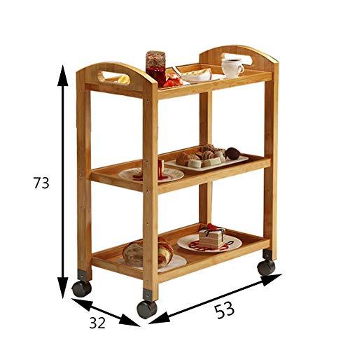 Scolapiatti legno massello stenditoio,cremagliera di immagazzinaggio pavimento a tre livelli mensola rack piatto con ruota spinta pranzo auto servizio carrello da salotto-a