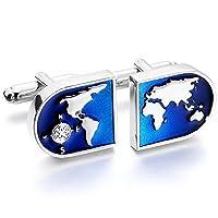 MOWOM Silver Tone Blue 2 PCS Rhodium Plated Cufflinks World Map Shirt Wedding Business