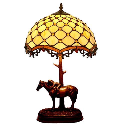 Tiffany-Stil Tischlampe, gestfesselte Glasvitrine Lampen 12 Zoll Beige Brown Baroque Shade Light Antique Base für Living Room Bedroom Schreibtisch Neben Coffee Table Dresser