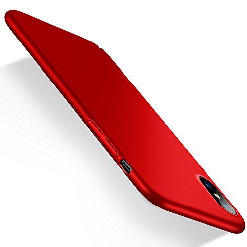 Humixx cover iphone x, cover iphone 10, custodia ultra sottile anti-graffio e resistente alle impronte digitali caso della copertura protettiva in plastica difficile [skin series] (rosso)