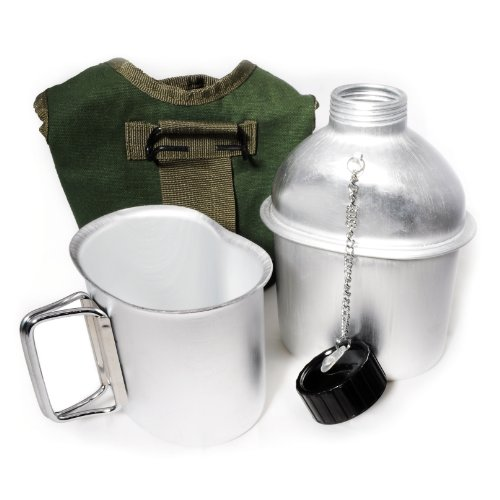 Aluminium Feldflasche 1 Liter inkl. Trinkbecher (Kochbehälter), Bundeswehr-Flasche / Alu Travel Bottle + Stofftasche Bundeswehrgrün - Marke Ganzoo