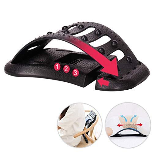 LSAMX Stretching zurück Gerät für Back Pain Relief, 3-Gang-Adjustment, Lage-Korrektor-Lendenwirbelstütze für unteres und oberes Rückenmassagegerät,Schwarz