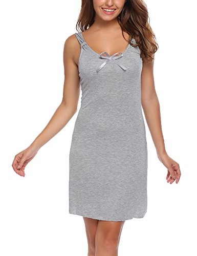 Ekouaer Damen Nachthemd kurz Ärmellos U-Ausschnitt Nachtkleid Gemütlich Träger einfacher Stil Nachtwäsche Schwarz/Blau/Grau/Rosa((S-XL) (Stil-träger)