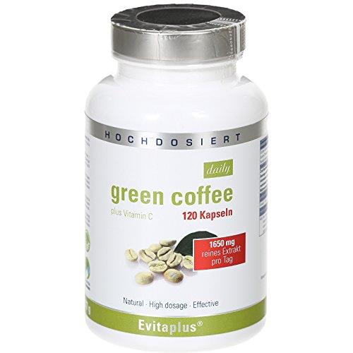 *Green Coffee DAILY Grüner Kaffee 120 Kapseln – Höchstdosiertes reines Extrakt 1.650 mg pro Tag + Vitamin C – Vegan*