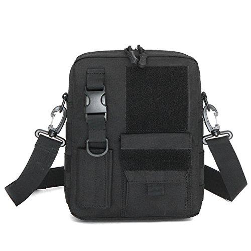 YAAGLE Herren Schultertasche Briefträger Kleine praktische Umhängetasche Militär Fans Messenger Bag für iPad Air, iPad Mini schwarz