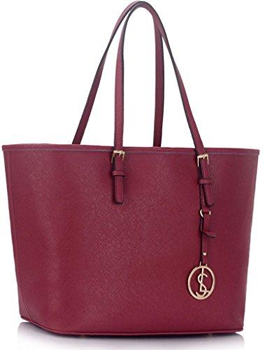 LeahWard® Damen Tasche Große Größe Damen Mode Essener Berühmtheit Stil Schulter Handtaschen Qualität Einkaufstaschen Handtasche mit Charme CWS00297 (Burgundy )