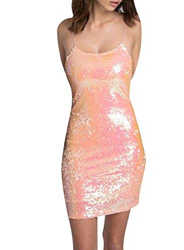 ACHICGIRL Women's Spaghetti Strap Sequins Bodycon Mini Night Club Dress Pink