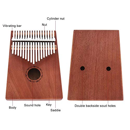 Yan YEAL 17 Tasten Daumenklavier, tragbarer Anfänger Klavierauszug Fingerklavier Mahagoni, Kalimba Solides Fingerklavier
