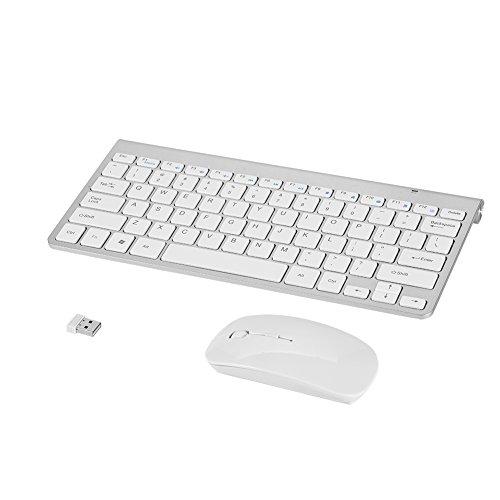 VBESTLIFE Kit Tastiera e Mouse Wireless Slim Impermeabile Tastiera e Mouse Set Combo da 2,4 GHz per Apple MacBook PC Win XP / 7/8 e Altre Attrezzature(Argento)