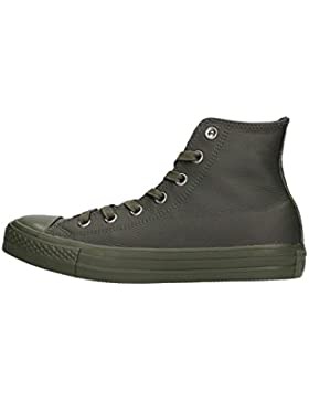Scarpe unisex Converse All Star Hi Leather Monochrome, tomaia in pelle, colore verde scuro, art. 155132C