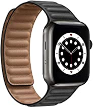 Compatible with Apple Watch Series 6 5 4 3 2 1, Durable Magnetic Genuine Leather Strap Compatible for Watch Ba