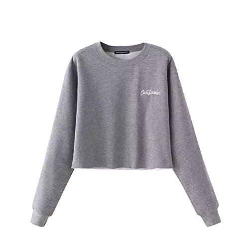 ROMANTIC BEAR Women Long Sleeve Jumper Cropped Sweatshirt Black/Gray